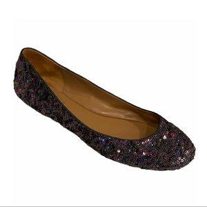 Elie Tahari Black Sequin Ballet Flats Shoes 10